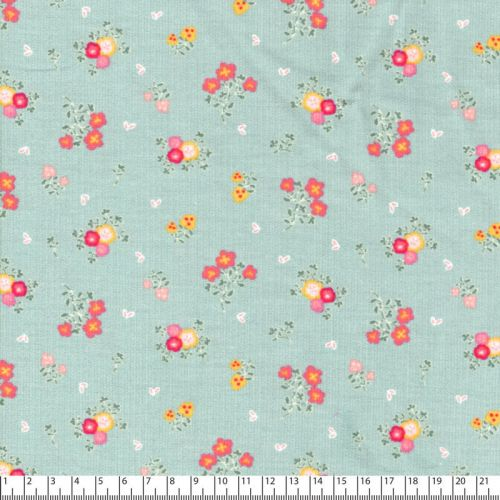 Tissu velours milleraies sweet flowers vert clair Poppy 100%