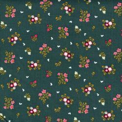 Tissu velours milleraies sweet flowers fond vert Poppy