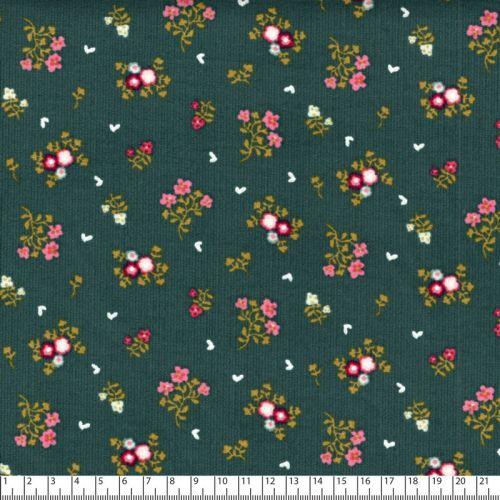 Tissu velours milleraies sweet flowers fd vert Poppy 100%cot