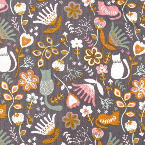 Tissu velours milleraies Folkloric fond gris Poppy