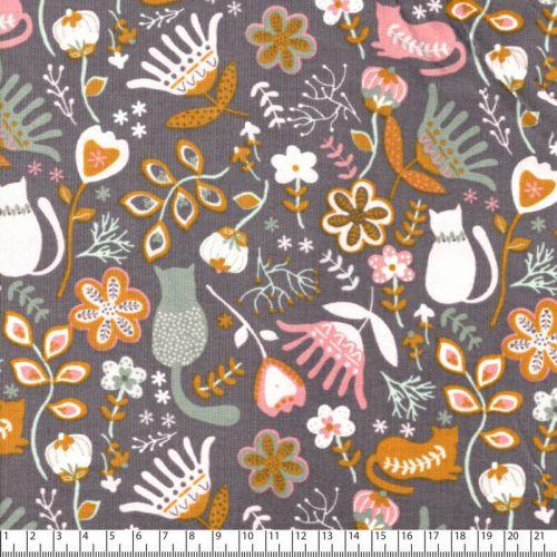 Tissu velours milleraies Folkloric gris Poppy 100%cot larg 1