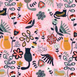 Tissu velours milleraies Folkloric fond rose Poppy