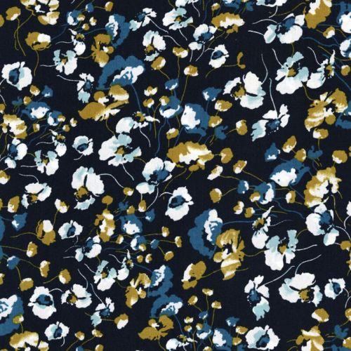Tissu fleurs bleues et blanches fond marine