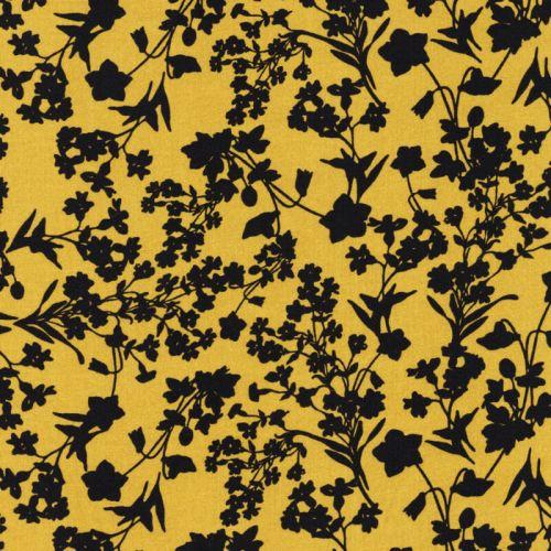 Tissu viscose fleurs marine fond jaune