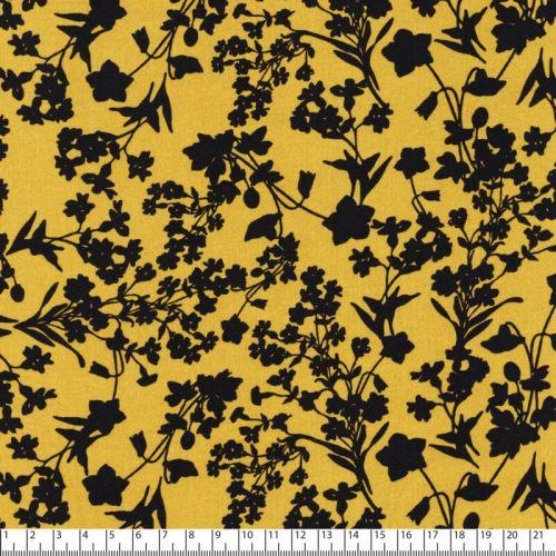 Tissu fleurs marine fond jaune