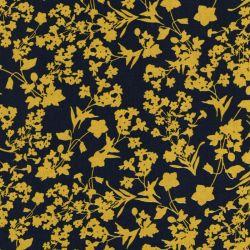 Tissu fleurs jaune fond marine