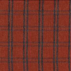 Tissu twill viscose écossais terracotta/gris/cuivre