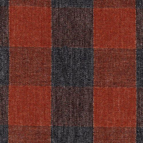 Tissu twill viscose carreaux gris/terracotta/cuivre