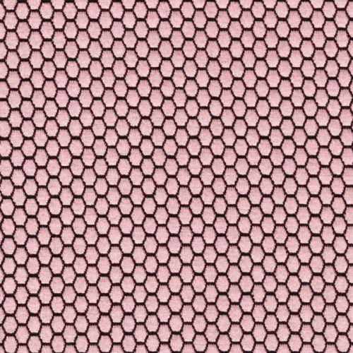 Tissu maille jacquard rose 79%pol/18%vi/3%sp larg 145cm