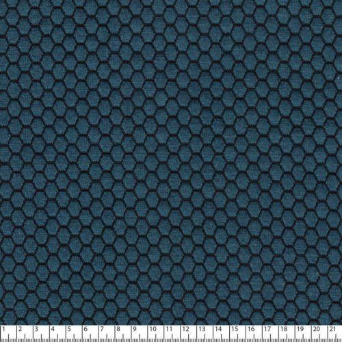 Tissu maille jacquard bleu canard 79%pol/18%vi/3%sp larg 145