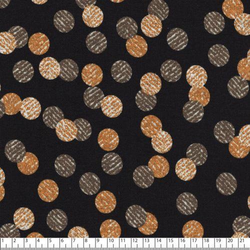 Tissu jersey Punta di Roma pois fond noir