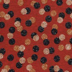 Tissu jersey Punta di Roma pois fond terracotta