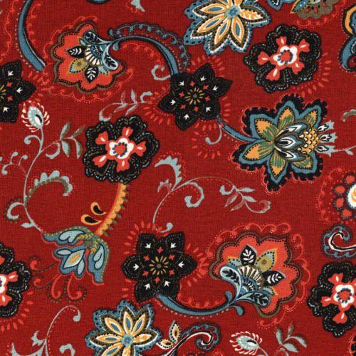 Tissu jersey viscose fleurs cachemire fond terracotta