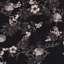Tissu fleurs en pointillé fond noir