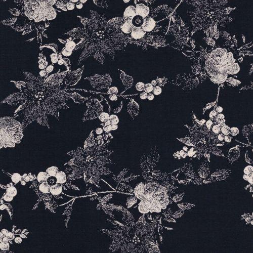 Tissu fleurs en pointillé fond marine