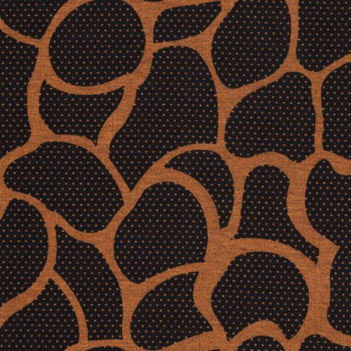Tissu jersey Milano arabesques moutarde fond noir