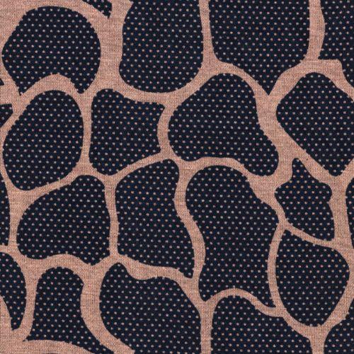 Tissu jersey Milano arabesques beige rosé fond bleu marine