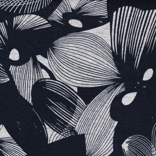 Tissu jersey Milano fleurs fond bleu marine
