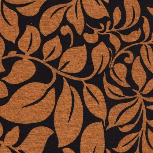 Tissu jersey Milano fleurs moutarde fond noir
