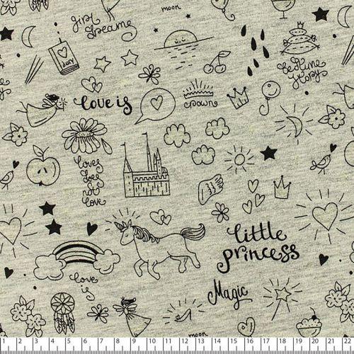 Tissu jersey little princess phosphorescent fond gris