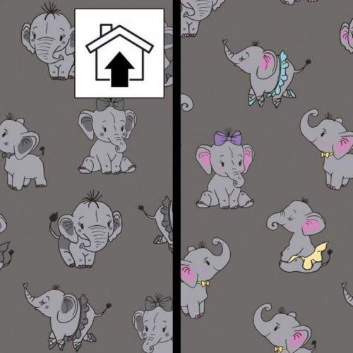 Tissu French Terry magique éléphants fond gris 95% cot/5