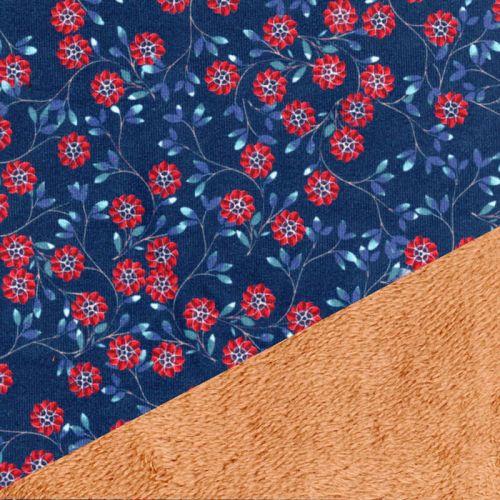 Tissu velours doublé fourrure 100%pol larg 145 cm