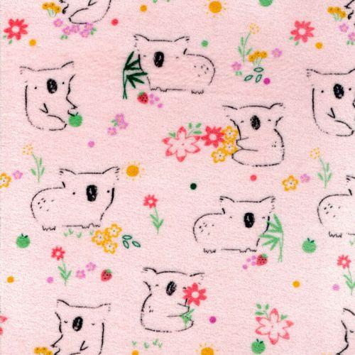 Tissu jersey velours koala fond rose