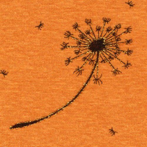 Tissu sweat dandelions or fond jaune