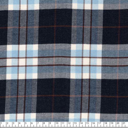 Tissu écossais bleu/marine 85%vis/15%pc larg 140 cm