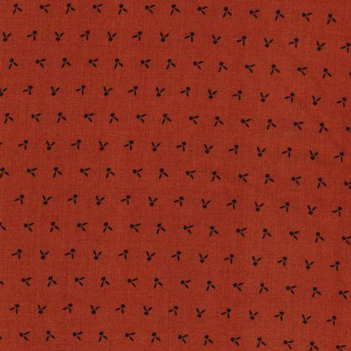 Tissu motif noir fd terracotta 100%vis larg 140 cm