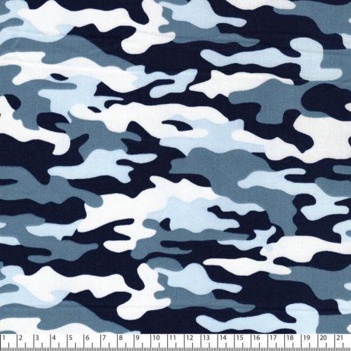 Tissu coton camouflage bleu Poppy