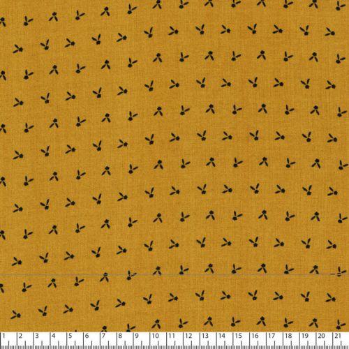 Tissu viscose petit motif marine fond moutarde