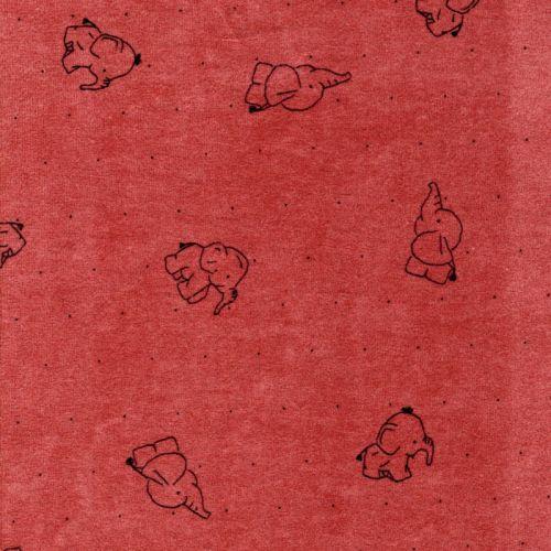 Tissu jersey velours éléphant fond rose