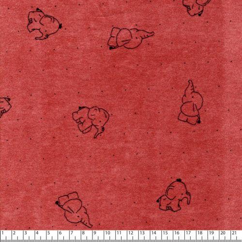 Tissu jersey velours élephant fd rose 80%cot/20%pl larg 145c