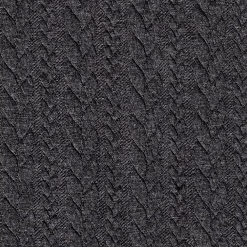 Tissu jersey matelassé torsade gris foncé 81%pl/16%vi/3%el l