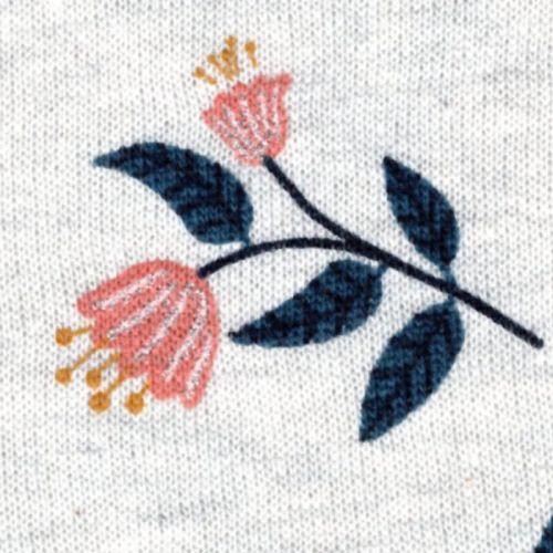 Tissu sweat Flowers glitter fond beige Poppy