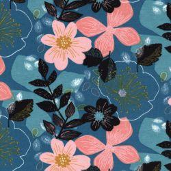 Tissu sweat fin Floral fond bleu Poppy