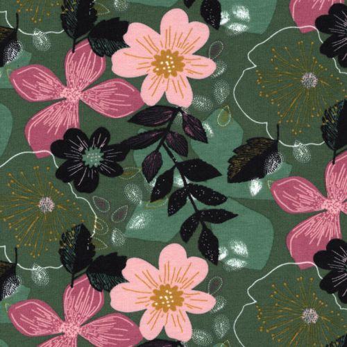 Tissu sweat fin Floral fond vert Poppy