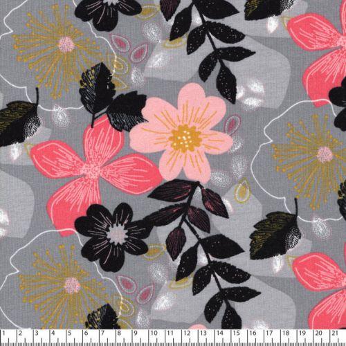 Tissu sweat fin Floral fond gris Poppy