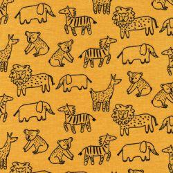 Tissu sweat fin Happy animals Poppy jaune