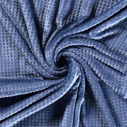 Tissu polaire doudou gaufré bleu jeans