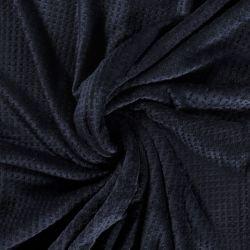 Tissu polaire doudou gaufré bleu marine