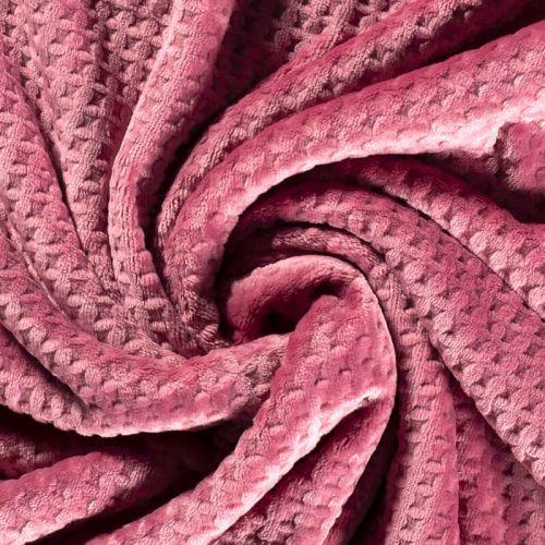 Tissu polaire doudou gaufré vieux rose