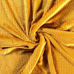 Tissu polaire doudou gaufré moutarde