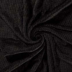 Tissu polaire doudou gaufré noir
