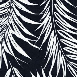 Tissu jersey feuilles de palme fond marine