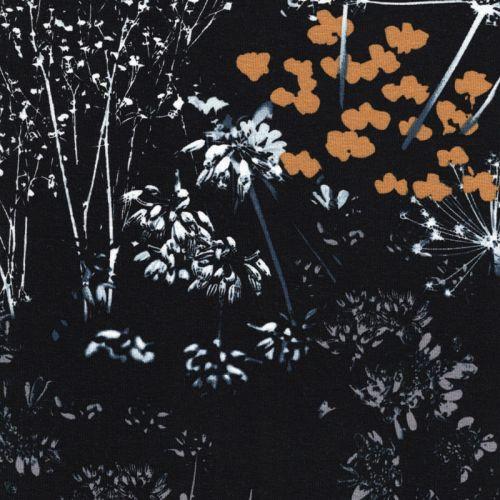 Tissu jersey noir fleurs des champs blanc, jaune, gris