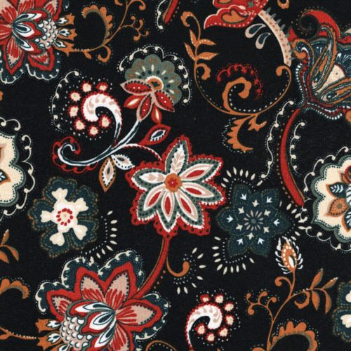 Tissu jersey fleurs cachemire fond noir