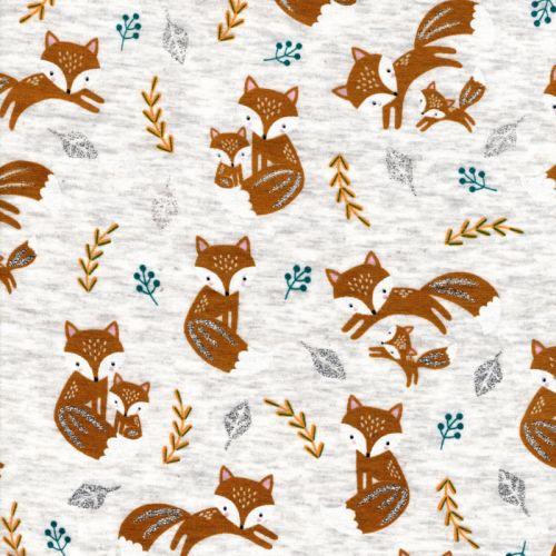 Tissu sweat renard glitter fond beige envers doudou gris foncé