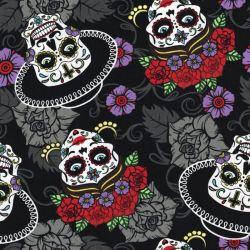 Tissu coton têtes de mort mexicaines 100%cot larg 140cm